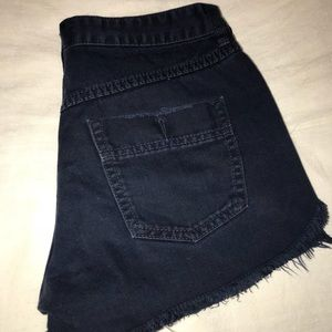 Free people navy denim high waisted shorts